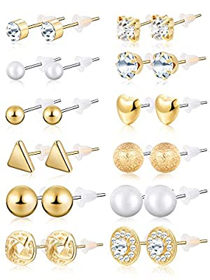BBTO 24 Pairs Stud Earrings Crystal Pearl Earring Set Ear Stud Jewelry for Girls Women Men, Silver and Gold (Gold)