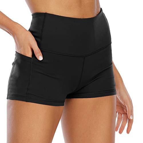 TALACCA Women's Yoga Shorts Highwaist Workout Bike Shorts with 2 Side Pockets (Black, S)