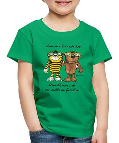 Janosch Tiger Und Bär Wenn Man Freunde Zitat Kinder Premium T-Shirt, 122/128 (6 Jahre), Kelly Green