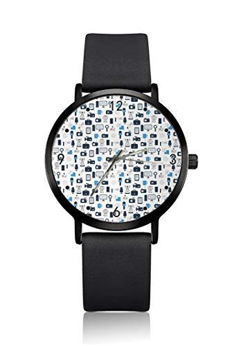 New-Media-Theme Tv News Herren-Armbanduhr, ultradünnes Gehäuse, minimalistisches Analog-Zifferblatt, schlankes Uhrwerk, Japanisches Quarz-Uhrwerk