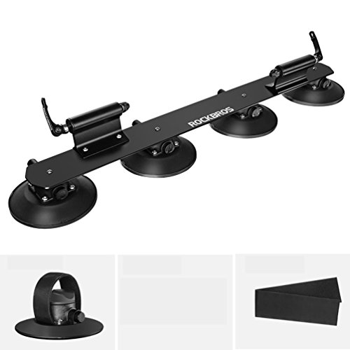 ROCK BROS Suction Cup Bike Rack for Car Roof Top Sucker Bike Rack Quick Release Aluminium Alloy Bike Carrier with Sucker for 2 Bikes