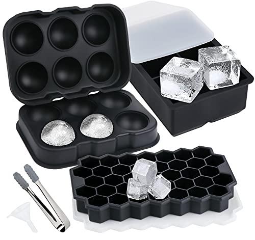 Stampo Ghiaccio in Silicone con Coperchio Stampi Cubetti Palle Esagono Grande Ice Cube Tray per Whisky Cocktail, Nero 3 pezzi