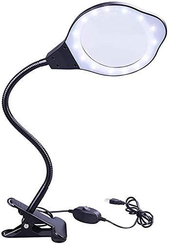 Lupas, lupa con luces LED recargable con abrazadera del metal 360deg; rotación lámpara de mesa de super alta claridad de peso ligero fácil de controlar 2 / 4x La degeneración macular lectura baja visi