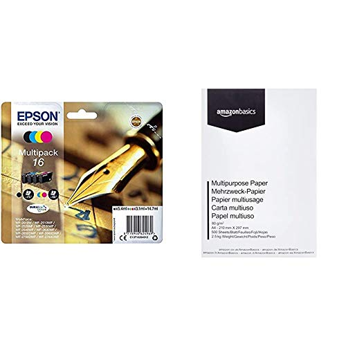 Epson 16 Series Pen and Crossword- Cartuccia d'Inchiostro, Multicolore (Black/Cyan/Magenta/Yellow) & Amazon Basics Carta da stampa multiuso A4 80gsm, 1 risma, 500 fogli, bianco