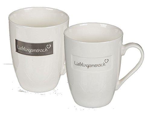 Ideal 6er Becher Lieblingsmensch 10x8 cm Kaffee Tee Tasse Kaffeebecher New Bone China