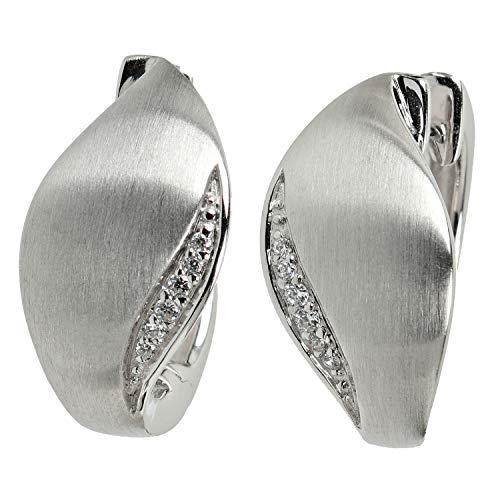 VIVENTY Damen-Ohrringe Klapp-Creolen aus Silber 925 mattiert mit Zirkonia weiß