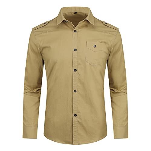 YOUTHUP Camicia Casual da Uomo Button Down Manica Lunga Camicie Militari