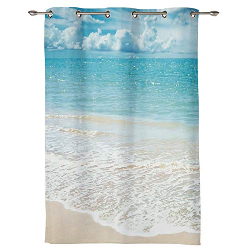 AM5CITY Kitchen Tier Curtains for Bedroom Living Room 24 Inches Long,Tropical Exotic Sand Beach Blue Sky Sea Scenery Sheer Curtains Grommets Window Drapes for Patio Door Bathroom Office Decor
