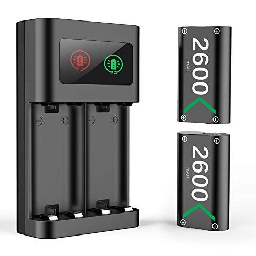 Batería Mando para Xbox One Series X S, Cargador Mando Sets de Baterías y Cargadores Battery Recargable Accesorios para Xbox One/ Xbox One S/Xbox One X/Elite/Xbox Series X S Controller, 2x 2600 mAh