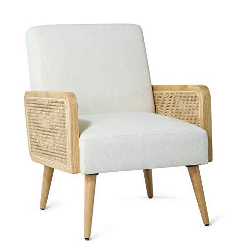 Loungesessel Sessel Beige relaxsessel mit Rattan Armlehne für Wohnzimmer und Schlafzimmer 64.5W X 74D X 83H cm Polsterstuhl Beige