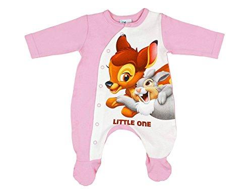 Mädchen Baby-Strampler mit Füßchen, Disney Bambi mit Klopfer in GRÖSSE 50, 56, 62, 68, 74, Baby-Schlafanzug LANG-ARM mit Druck-Knöpfen, Spiel-Anzug für Neugeborene, SUPER SÜSS Größe 50