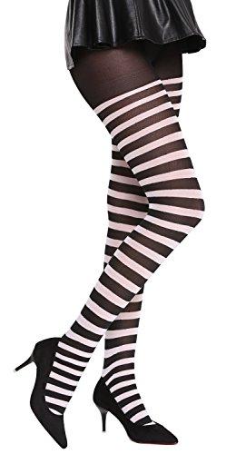 DRESS ME UP - BB-026-blackwhite Strumpfhose Pantyhose Halloween Karenval schwarz weiß gestreift Ringelstrümpfe Okapi-Knastbraut