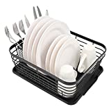 TQVAI Kitchen Dish Drainer Rack with Drying Board and Full-Mesh Silverware Utensils Holder, Black