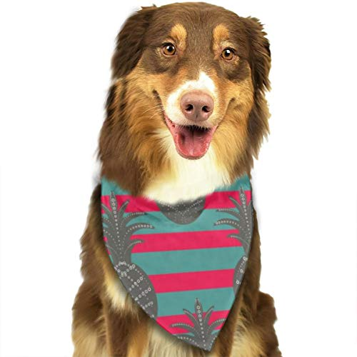 Ananas nahtloses Muster auf Streifen Hund Bandana, Dreieck Plaid Lätzchen Halstuch Schal für Hund Katze Haustier