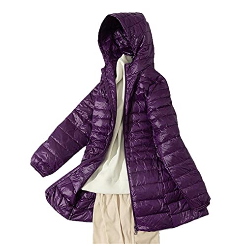 7XL Damska kurtka puchowa do spakowania Lekka kurtka puchowa w dużych rozmiarach z kapturem Slim Warm Outdoor Sports Travel Parka Odzież wierzchnia - fioletowy, S