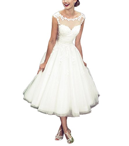 Women's Elegant Sheer Vintage Short Lace Wedding Dress for Bride US 10 Ivory