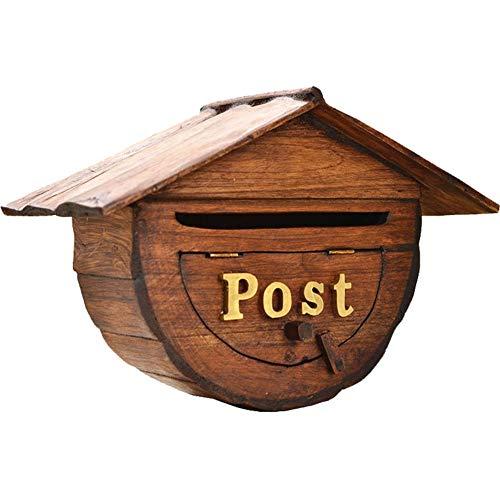 Briefkasten Wandbriefkästen Klein Holz An der Wand Montiert Briefkasten, Rustikal Hölzern Postkasten Letterbox, Wahlurne, Vintage Hausdekor
