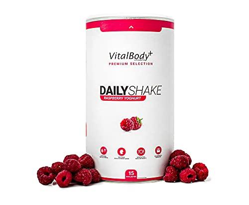 VitalBodyPLUS® DailyShake, Raspberry Yoghurt, 450 g, Mahlzeitenersatz-Shake zum Abnehmen, 15 Mahlzeiten vollwertig & kalorienarm ersetzen