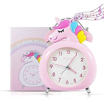 AYUQI Reloj Despertador Unicornio, Reloj Despertador Silencioso Duradero para Estudiantes con Luz Nocturna y Alarma Sonora, Fácil de Configurar y Alimentado por Batería, Lindo Reloj de Campana Doble