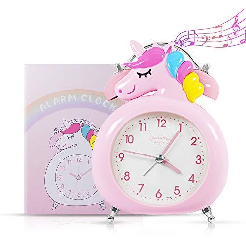 AYUQI Unicornio Sveglia, Sveglia Doppia Campana Sveglia Metallo Forte Allarme,con Luce Notturna Alarm Clock Quarzo Silenzioso Senza Ticchettio Orologio Analogica da Bambini Comodino Tavolo Letto Casa
