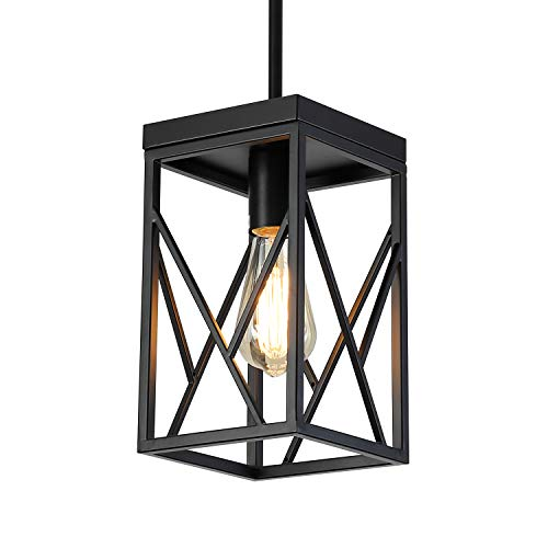 Modern Black Pendant Light with Metal Cage, One-Light Adjustable Rods Industrial Mini Pendant Lighting Fixture for Kitchen Island Cafe Bar Farmhouse, Black