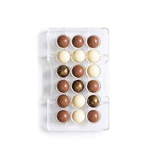 Decora cioccolatino 1/2 Sfera, Policarbonato, Trasparente, Diametro CAV 25 mm, Stampo 200 x 120 x 22 mm