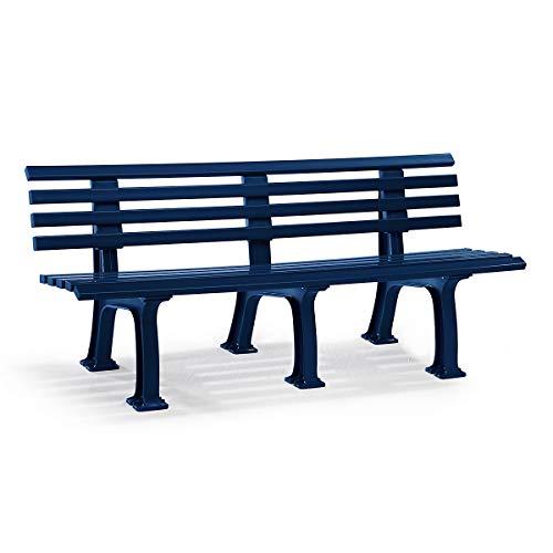 Parkbank aus Kunststoff - mit 9 Leisten - Breite 2000 mm, stahlblau - Bank Bank aus Holz, Metall, Kunststoff Bänke aus Holz, Metall, Kunststoff Gartenbank Kunststoff-Bank Kunststoff-Bänke Ruhebank