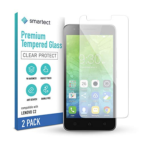smartect Schutzglas kompatibel mit Lenovo C2 [2 Stück] - Tempered Glass mit 9H Härte - Blasenfreie Schutzfolie - Anti-Kratzer Displayschutzfolie