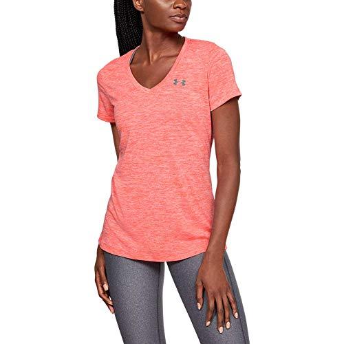 Under Armour TechV Twist Gym T-Shirt Camiseta Transpirable de Manga Corta para Correr, Ultraligera Camiseta de Manga Corta de Corte Suelto, Mujer, Rojo, SM