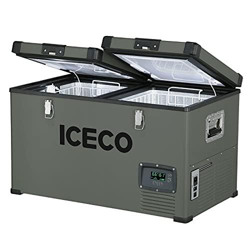 ICECO VL60 Dual Zone Portable Refrigerator with SECOP Compressor, 60 Liters Platinum Compact...