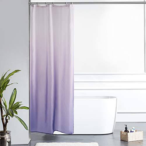 Furlinic Schmal Duschvorhang für Bad in Kleine Badewanne Badvorhang Textil aus Polyester Stoff Schimmelresistent Wasserabweisend Waschbar Weiß nach Lila 90x180 mit 6 Duschvorhangringen.