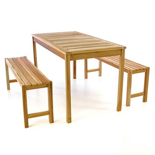 Divero Gartenmöbelset Picknickset Sitzgruppe Teakholz Bank Tisch Natur 135cm