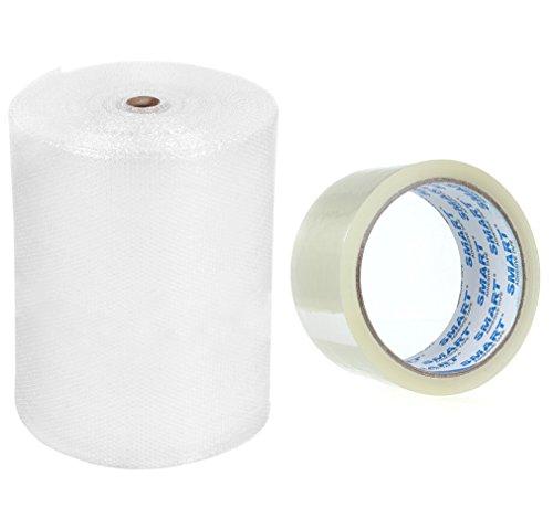 Luftpolsterfolie 100cm x 100m Starke 60my mit Rolle Paketklebeband 48mm x 66m Schutzausrüstung für Pakete Noppenfolie + Klebeband transparent