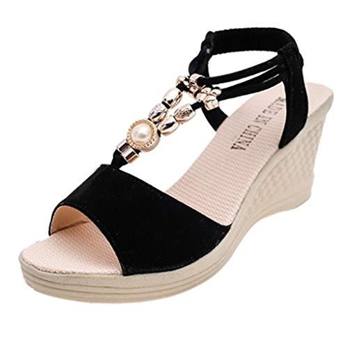 Patifia Damen Schuhe, Frauen Elegant Damenmode Einfarbig Wedges String Bead Casual römischen Sandalen Schuhe Flip Flops Fischmundmuffin Pumps Keilsandalette Sommerschuhe