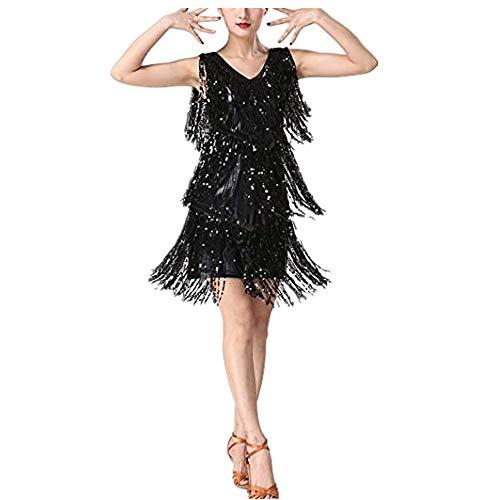 Freebily Vestido de Danza Latina Tango con Flecos Lentejuelas para Mujer Cuello en V Disfraz Bailarina Actuación Ropa Danza Moderna Clásica Negro XX-Large