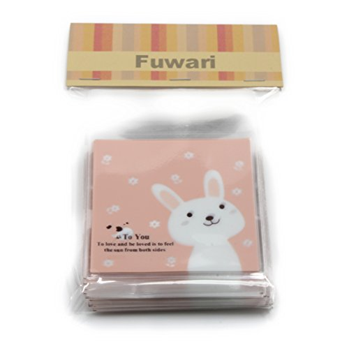 【Fuwari】アニマル 動物 袋 小袋 お菓子 チョコレート クッキー キャンディー ラッピング 100枚 包装袋 小分け プレゼント (うさぎ(ピンク))