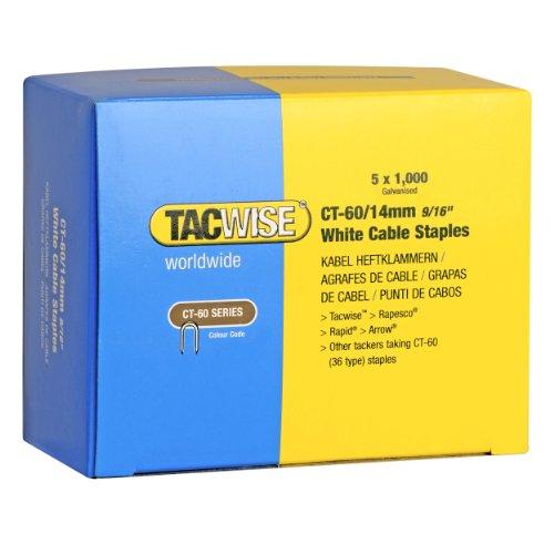 TACWISE 0357 Grapas de cables serie CT-60 x 14 mm de punto divergente (5 cajas x 1000 unidades), blanco, 14 mm, Set de 5000 Piezas