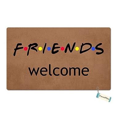 FavorPlus Friends Welcome Funny Entrance Custom Doormat Door Mat Machine Washable Rug Non Slip Mats Bathroom Kitchen Decor Area Rug 15.7X23.6 Inch