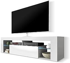 """consolle con luci a LED e cassetto mobile per TV supporto per schermi TV da 60/"""" per soggiorno bianco White 130cm Mobile TV moderno con luci a LED"""