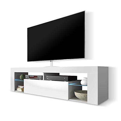 Hestia – Mobile Porta TV/Mobiletto Porta TV Moderno (140 cm, Bianco Opaco/Pannello Frontale Bianco Lucido con Luci LED)
