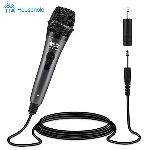 Moukey Dynamic Cardioid Home Karaoke Microphone, 13 ft XLR Cable Metal Handheld Wired Mic Corded for Singing/PA Speaker/Amp/Mixer/Karaoke Machine & Speech/Wedding/Stage -Grey (MWm-5)