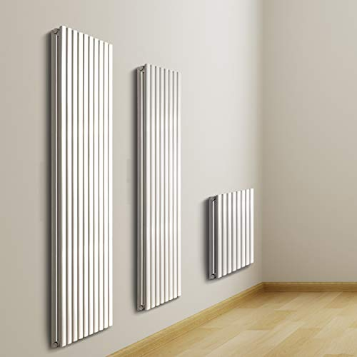 VILSTEIN Radiador de panel de doble capa, conexión central y conexión lateral, 600 x 900 mm, vertical, color blanco