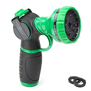 SC Metal Garden Hose Nozzle Anti-Leak Heavy Duty 10 Pattern Anti-Rust No-Squeeze Sprayer High Pressure For Carwash/Pet Shower/Spraying Plants + 1 Year Warranty