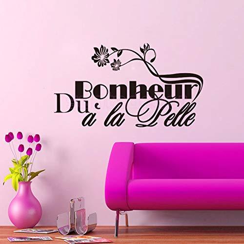 Pegatinas de vinilo con cita francesa de Bonheur a la Pelle para la sala de estar, decoración del hogar, decoración de 40 x 75 cm