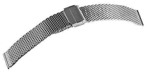 Meshband Edelstahl Armband in Silber poliert 18 mm