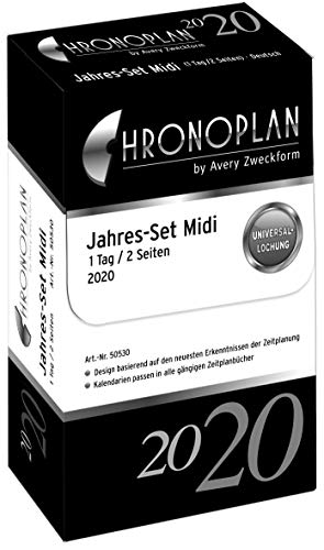 Chronoplan 50530 Kalendereinlage 2020, Jahres-Set Midi mit Tagesplänen (1 Tag/2 Seiten), weiß