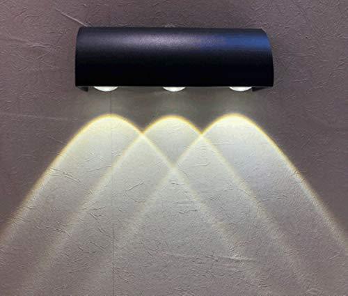 Asvert Aplique de pared para exterior Luz de pared exterior aluminio IP65 a prueba de agua lámpara de iluminación para Exterior (Blanco frío, 3w*3)