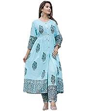 GoSriki Women's cotton princess cut Salwar Suit Set
