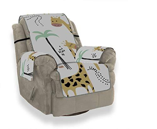 LMFshop Cartoon Gelbe Giraffe Familie Sofa Lounge Abdeckung Lodge Sofa Abdeckung Schonbezüge Ohrensessel Möbel Beschützer Für Haustiere Kinder Katzen Sofa