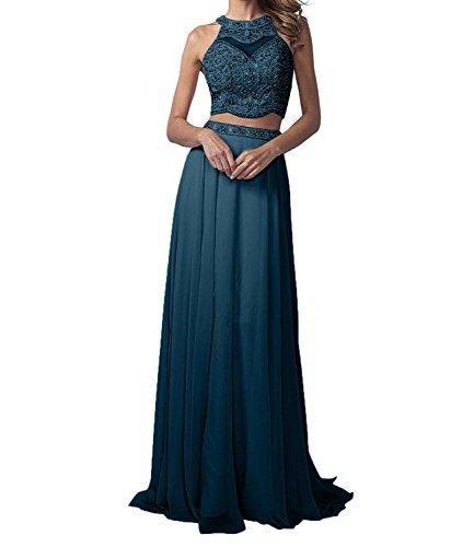 La_Marie Braut Damen Langes Zwei-teilig Perlen Abendkleider Promkleider Partykleider Chiffon A-Linie Rock-38 Dunkel Blau